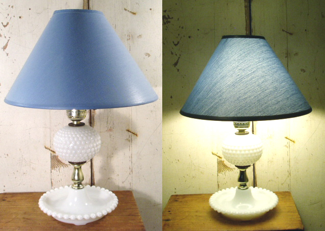 """画像1: 50-60's """"Blue cloth Shade"""" Hobnail Table Lamp (1)"""