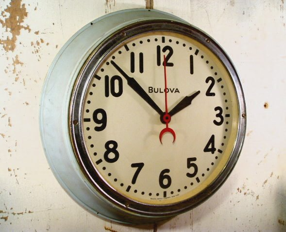 "画像1: 40's ""BLOVA"" Hand Paint Metal Wall Clock (1)"