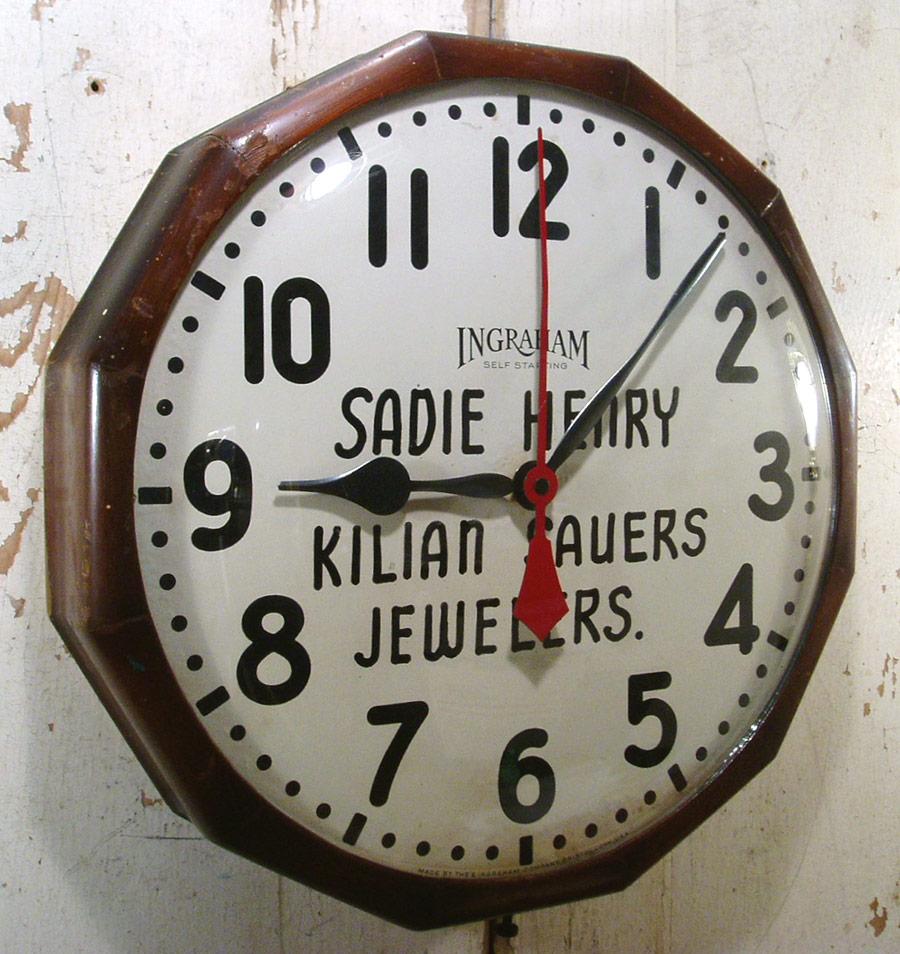 """画像1: 1940-50's """"Advertising"""" Wood Wall Clock (1)"""