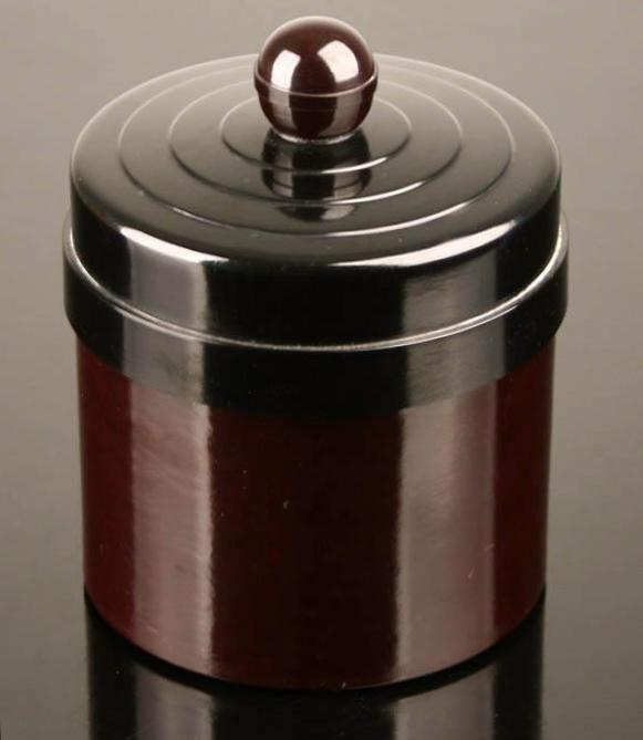 画像1: 1930's Art Deco Bakelite Container 【Black×Dark Burgundy】 (1)