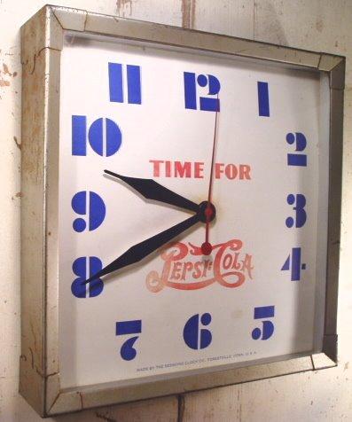 """画像1: 1930〜40's """"PEPSI-COLA"""" Advertising Metal Wall Clock (1)"""
